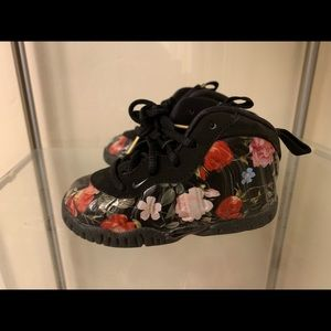 Infant floral print foamposites.